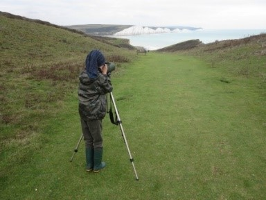 A family bird watching trip to Seaford Head