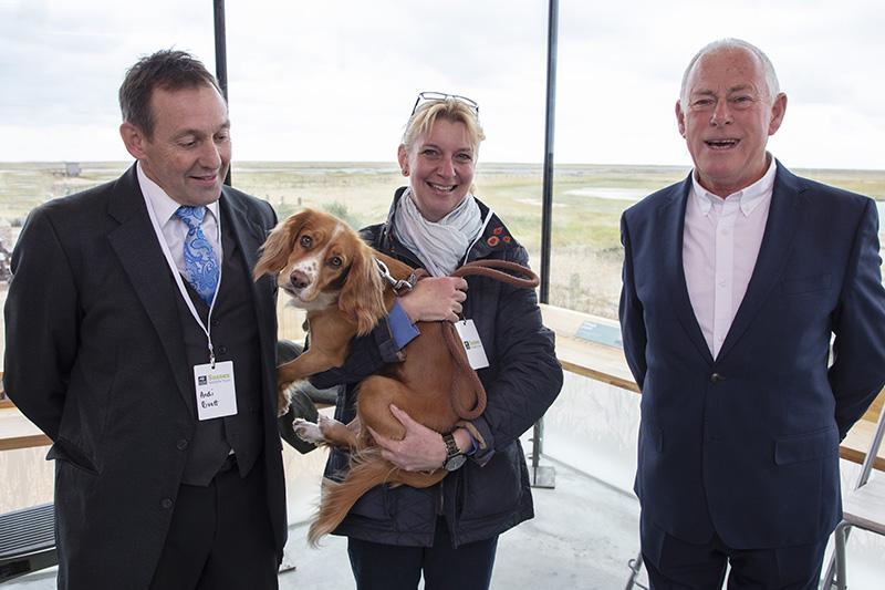 l/r Andi Rivett, Deputy Mayor of Rye, Rebekah Gilbert, Mayor of Rye, Cliff Dean, Chair of the Friends of Rye Harbour Nature Reserve. Sophie the dog