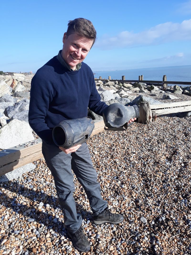 Andy Dinsdale with octopus pods Pett Level