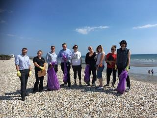 Corporate beach clean group
