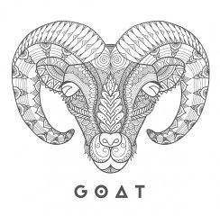 Goat head logo with goat word charcoal 1 w640h480