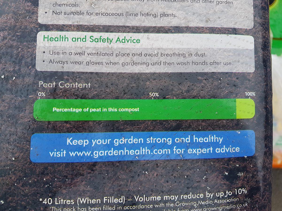 Westland label 90% peat