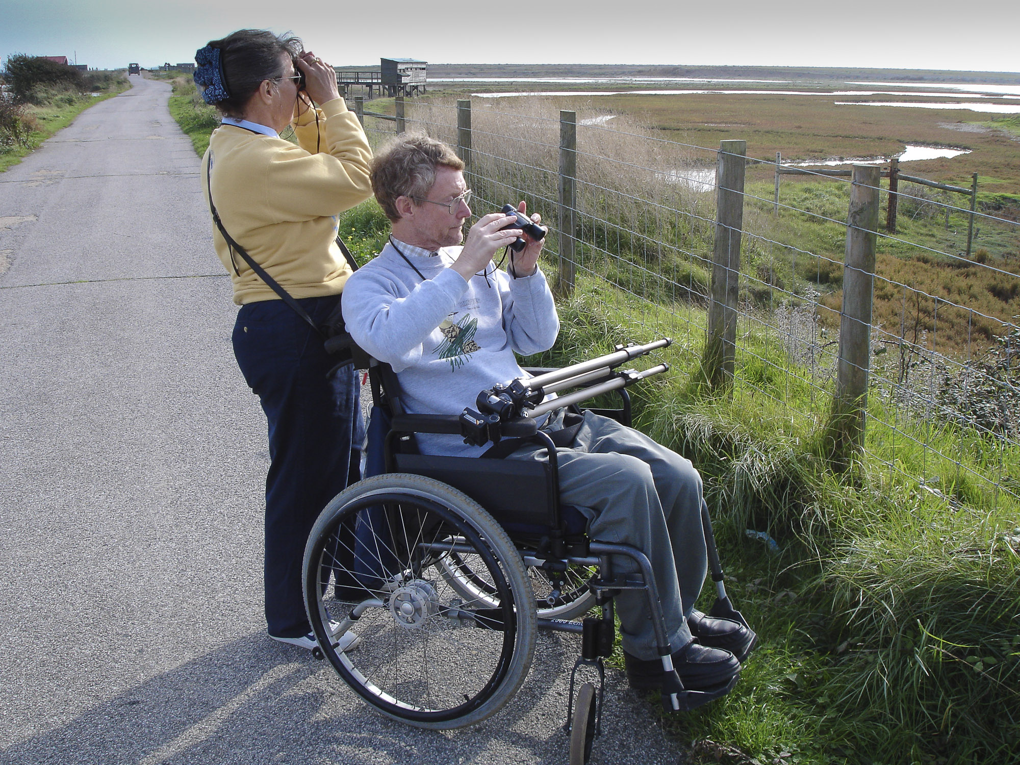Wheelchair birdwatcher