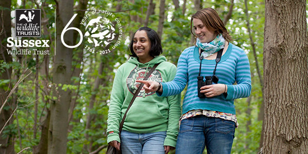 Wildwalk women walking in bluebell wood©Tom MarshallSussex Wildlife Trust